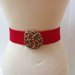 Vintage Red Christmas Swirl Buckle Stretch Belt